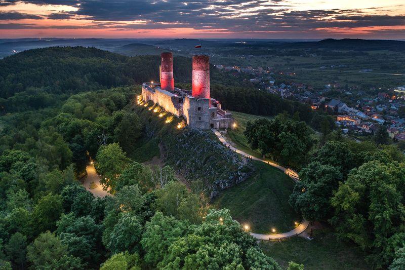 poland, polska, kielce, chęciny, castle, sunset, night lights, drone, aerial, from the sky, Checiny Castlephoto preview