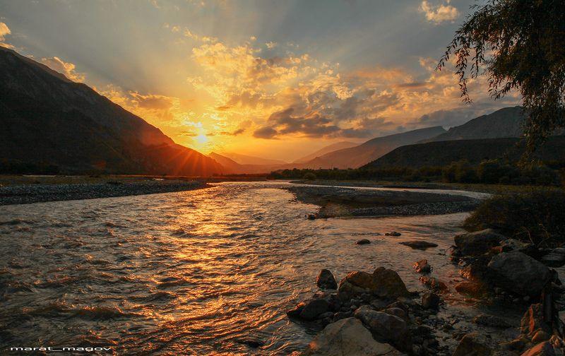 река,закат,горы,андийское кайсу,ботлихский район, Закат в горах..photo preview