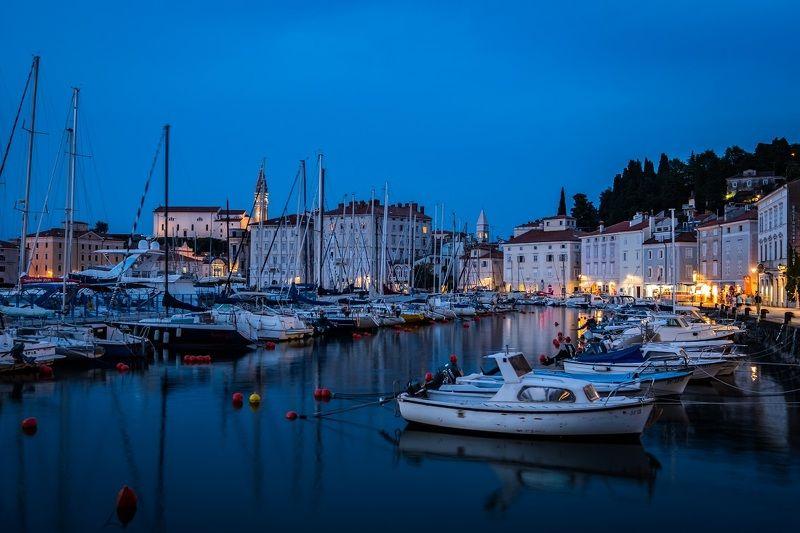 piran, slovenia, europe, city, boat, night, cityscape, light, water, словения, пиран, город, курорт, Piran, Sloveniaphoto preview