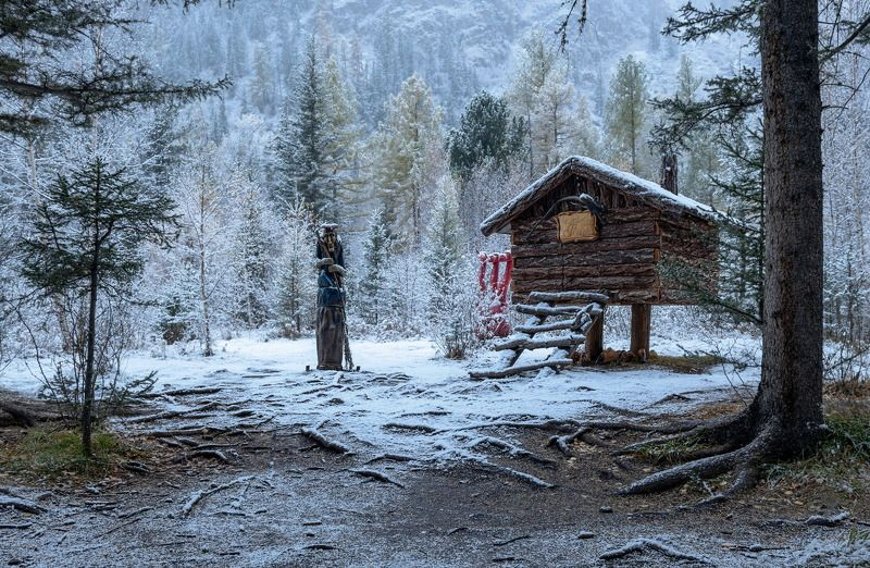 алтай, гейзерное озеро., первый снег. Сказка.photo preview