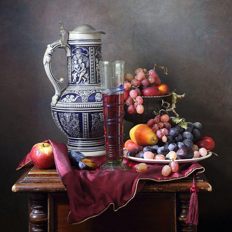 натюрморт, виноград, кувшин, фрукты Сладкое летоphoto preview
