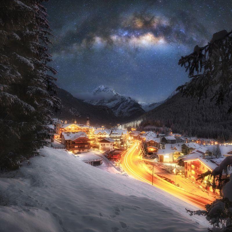 canazei, tirol, night, milky way Зима в Тиролеphoto preview