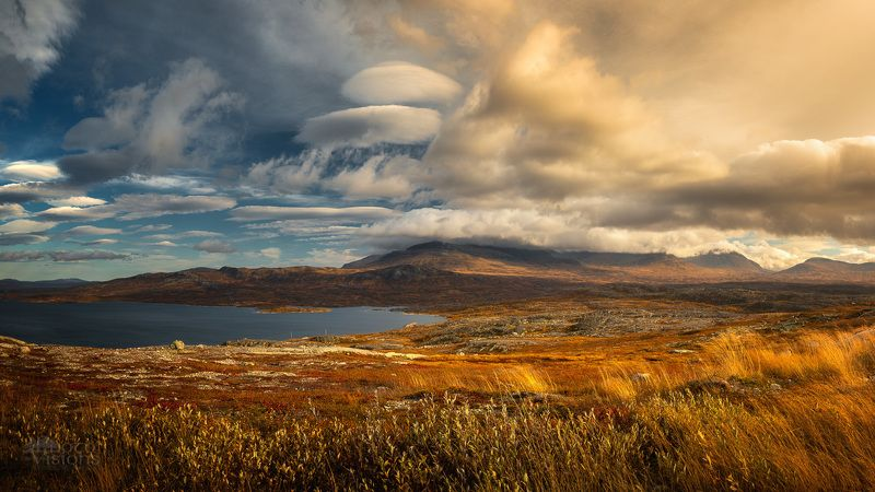 mountains,autumn,sylan,norway,light,sky,clouds, The Beauty of autumnal light фото превью