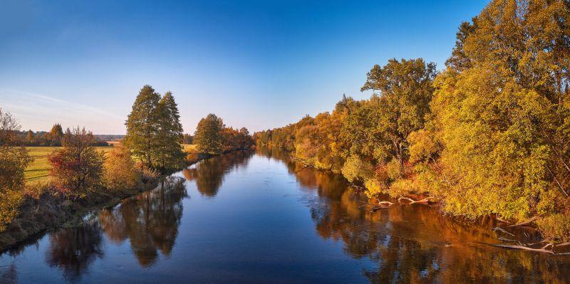 беларусь, вечер, закат, лес, луга, октябрь, осень, поля, река, свислочь Осенняя рекаphoto preview