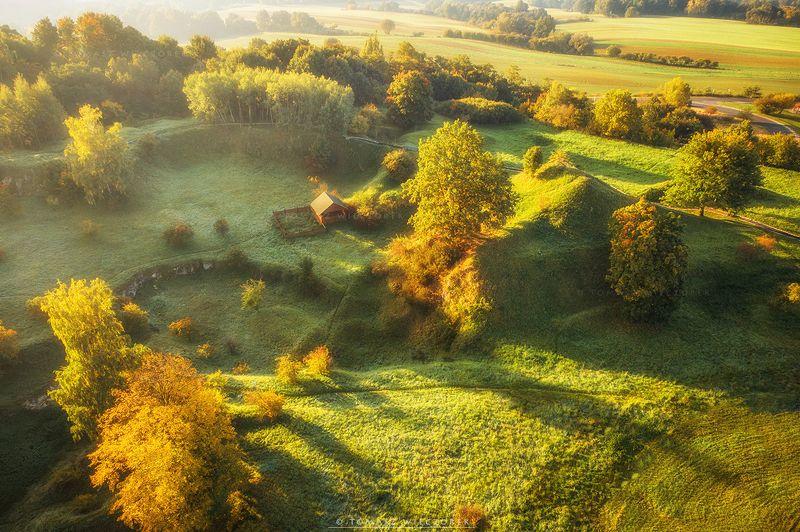 landscape, poland, light, autumn, awesome, amazing, sunrise, sunset, lovely, nature, travel, drone, trees, orange, shadows, dji Autumn look фото превью