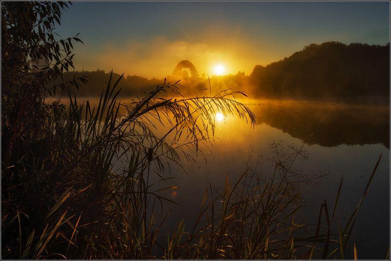 москва, озеро, восход солнца, туман, отражение Утро в большом городеphoto preview