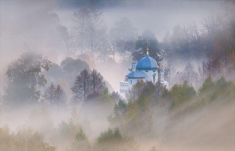 истра, туман, храм, часовня, осень Под покровом тумана.photo preview