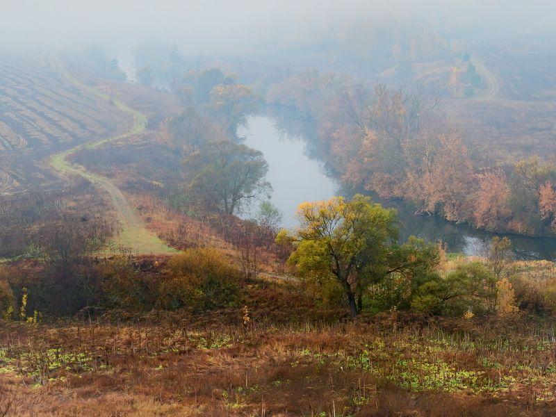осень, река, пейзаж, холмы, туман С холмаphoto preview