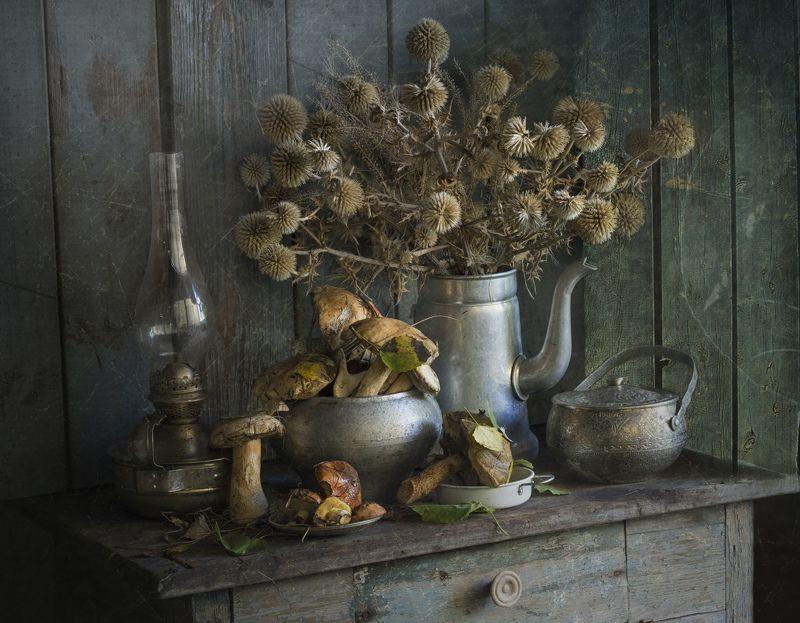 натюрморт, грибы, сухоцвет С подберёзовиками и мордовникомphoto preview