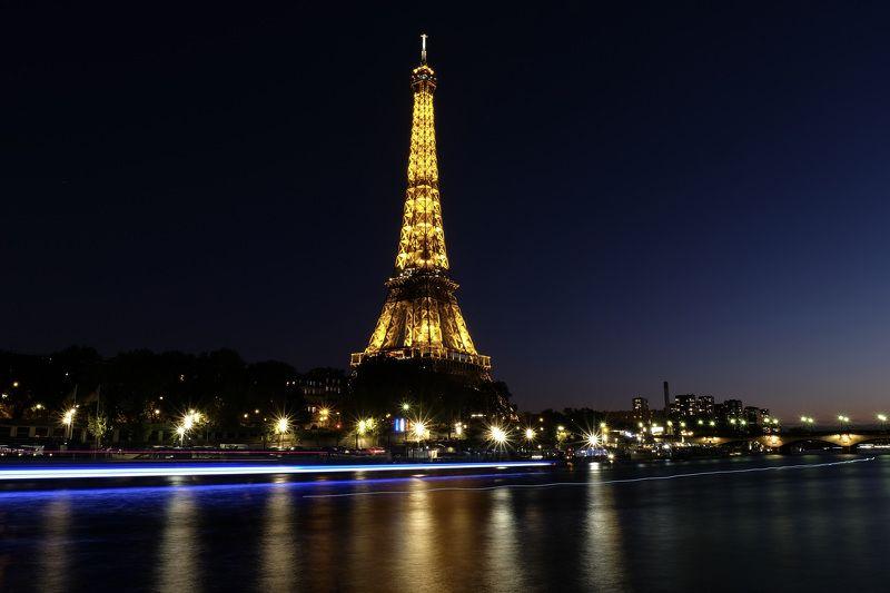 Night, The Eiffel Tower, River Seine, Paris, France, water, long exposure, cityscape, city, reflection,  Голубой корабльphoto preview