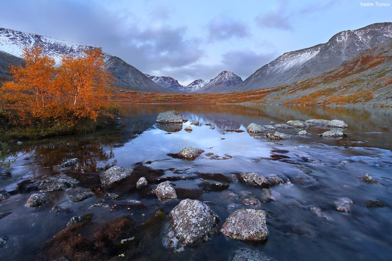 кольский, север, заполярье, хибины, тахтаръявр Вечер на озере Тахтаръяврphoto preview