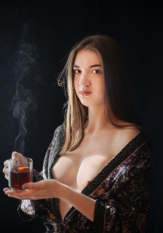 чай, девушка, портет Надо согретьсяphoto preview