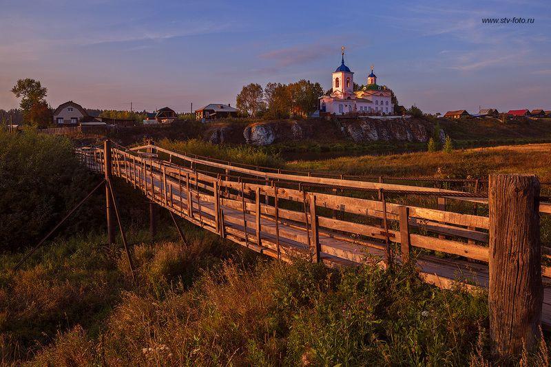 пейзаж, мост, храм, деревня, урал, река, вечер, закат, село Вечерний звонphoto preview