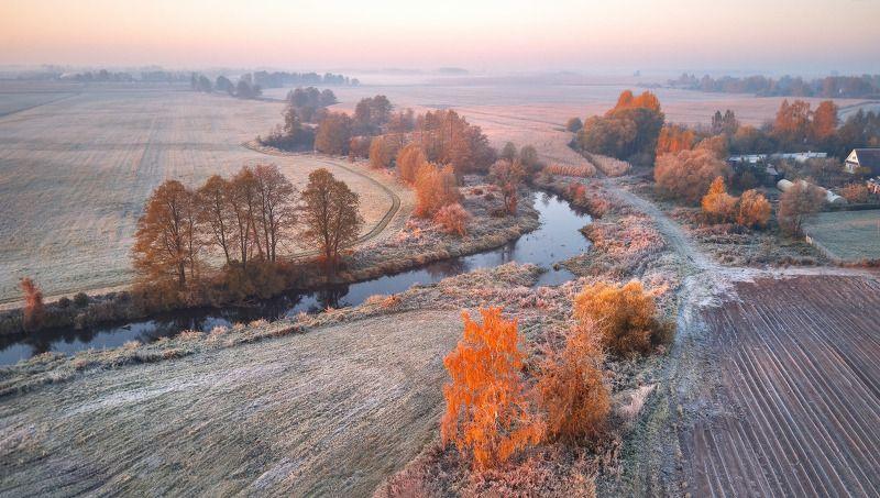 беларусь, деревня, заморозки, иней, луга, октябрь, осень, поля, рассвет, река, утро Уса. Первые заморозкиphoto preview