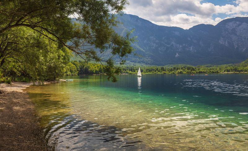 словения, горы, озеро, бохиньское, лодка, парус, берег, деревья, Белеет парус одинокий ...photo preview