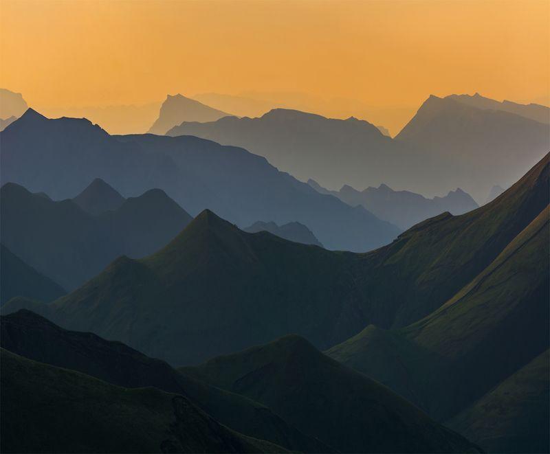 природа, кавказ, пейзаж, закат, весна, горы Тональная перспективаphoto preview