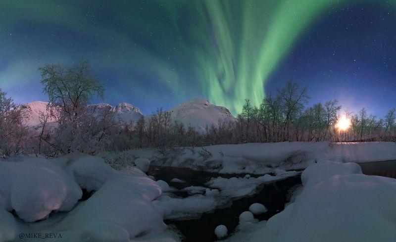 ночь ночной пейзаж астрофотография звезды созвездия хибины северное сияние Про Лунный закат в Хибинахphoto preview