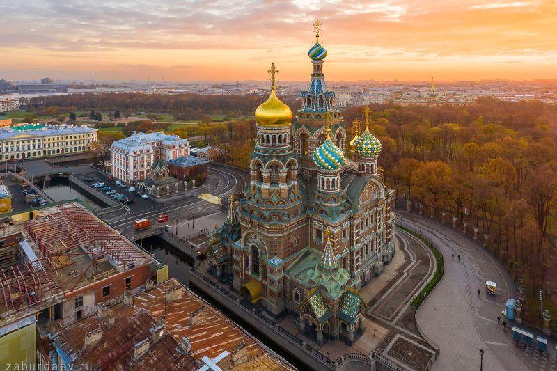 россия, петербург, осень, рассвет Спас на Кровиphoto preview
