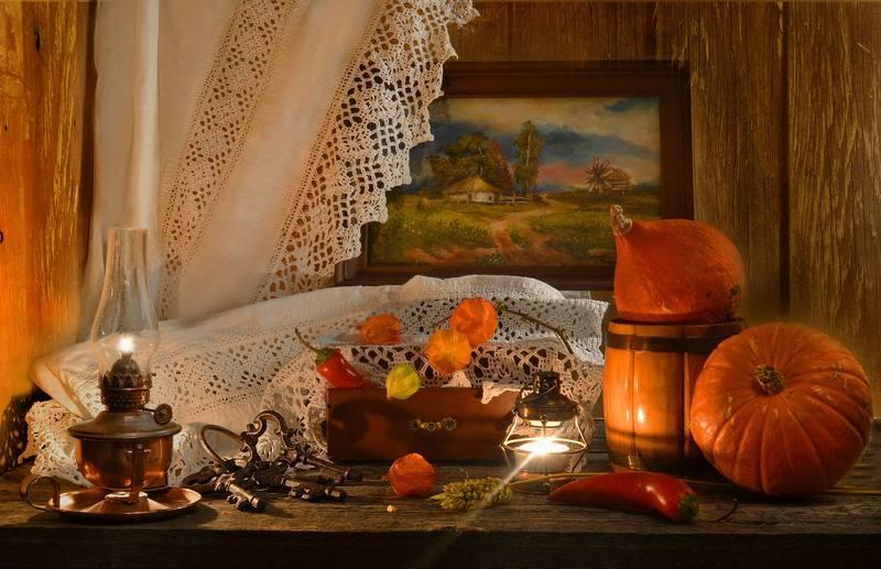 still life, натюрморт, цветы, фото натюрморт, физалис, осень, октябрь, тыква, керосиновая лампа,ключи, картина маслом Осень в стиле ретро...photo preview