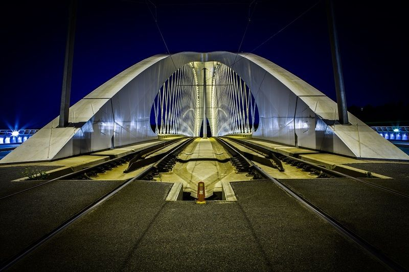 bridge, night, city, architecture, modern bridge, prague, мост, прага, архитектура Troja bridge, Praguephoto preview