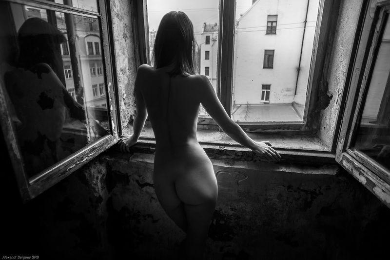 девушка,обнажённая,настроение,ч/б Чёрный ходphoto preview