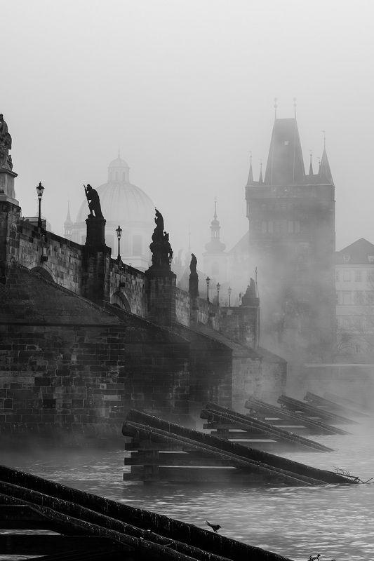 fog, city, bridge, charles bridge, tiwer, architecture, башня. мост, туман, город, прага, река Foggy morning in Praguephoto preview