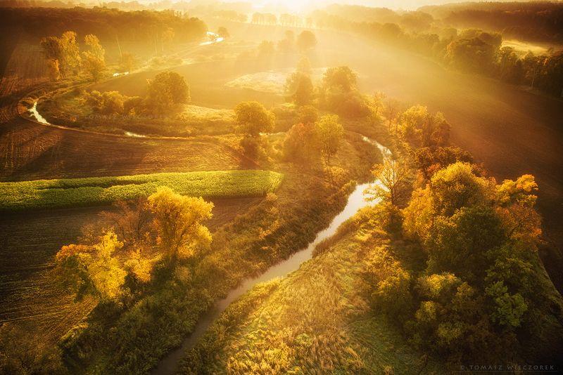 landscape, poland, light, autumn, awesome, amazing, sunrise, sunset, lovely, nature, travel, drone, trees, orange, shadows, dji, river, honey Honey фото превью