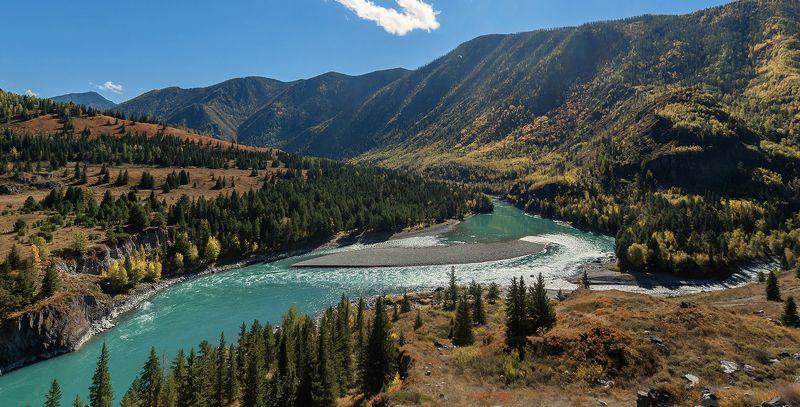 алтай, горный алтай, катунь, осень, блики, лиственницы Чудесный уголок Катуниphoto preview