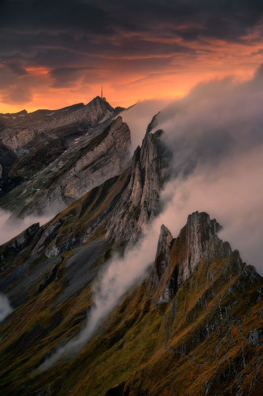swiss, switzerland, alps, mountains, mist, fog, europe, clouds, sunset, amazing, landscape, mountains, mounatain, colours Sunset in Swiss Alpsphoto preview
