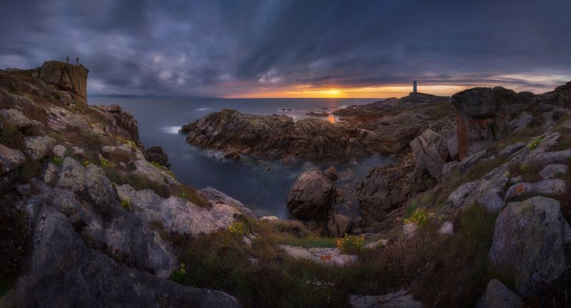 #panoramic #sunset #sunstar #galicia # spain # lighthouse # The barnacles, the lighthouse and the seaphoto preview