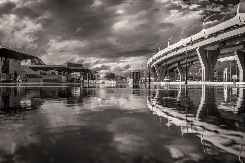 город,дождь,отражения,мост,архитектура,блики После дождяphoto preview
