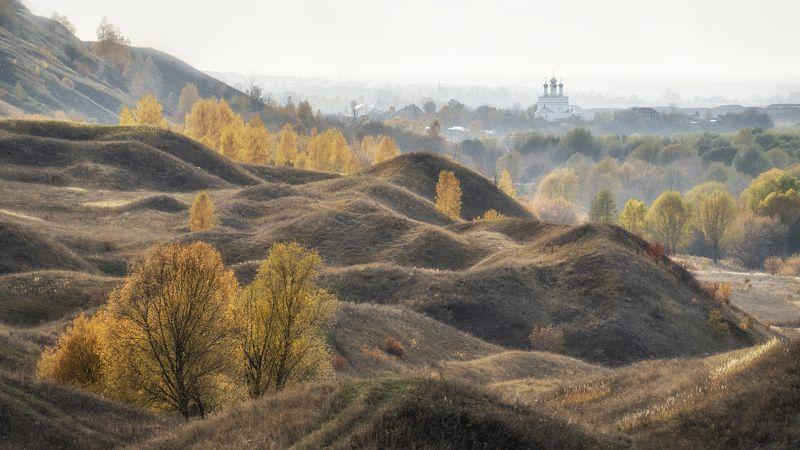 осень утро холмы церковь деревья Утро в Лысково.photo preview