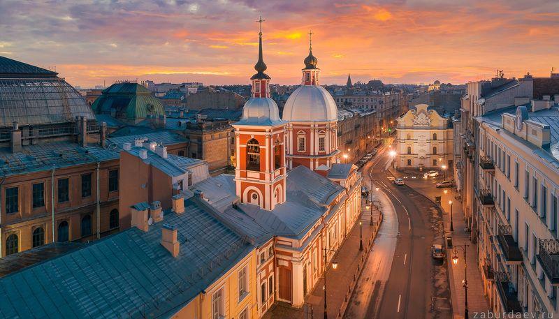 россия, петербург, осень, рассвет Пантелеймоновская церковь у музея Штиглицаphoto preview
