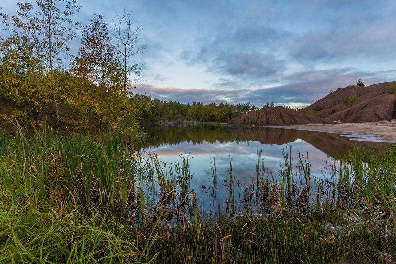 осень, озеро, карьер, пейзаж Кондукиphoto preview