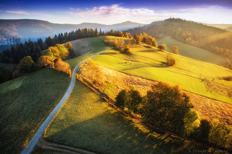 landscape, poland, light, autumn, awesome, amazing, sunrise, sunset, lovely, nature, travel, drone, trees, orange, shadows, dji, mountains, horses Somewhere in the mountains фото превью