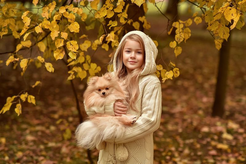 детский портрет, осень, дети, краски осени, дети и животные, прогулка Прогулка с пёсикомphoto preview