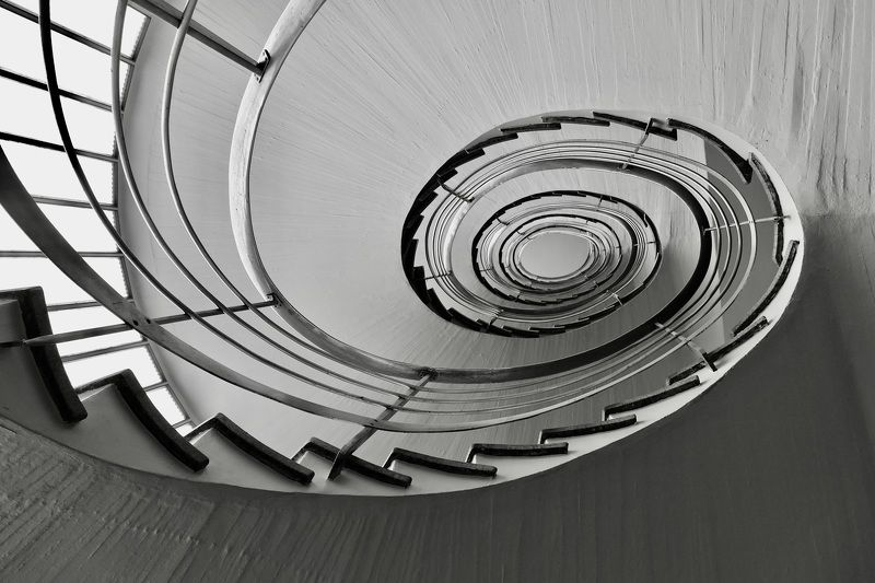 Black & White, city and architecture, building, staircase, architecture, interior, stairs, geometry, oval, house, pattern,  По восходящей...photo preview