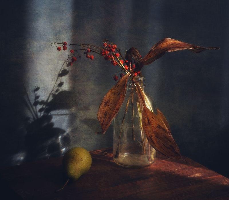 натюрморт,композиция,осень,груша,ландыш,тень осенний ландыш...photo preview