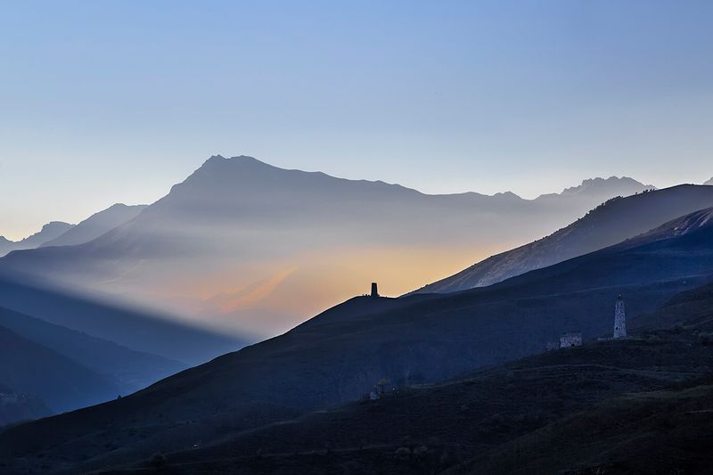горы, свет, закат, солнце, луч, вечер photo preview
