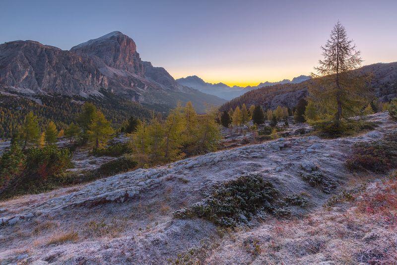 италия, доломиты, горы, восход, природа, landscape, italy, dolomites, golden hour, golden light, sunrise Морозное утро.photo preview