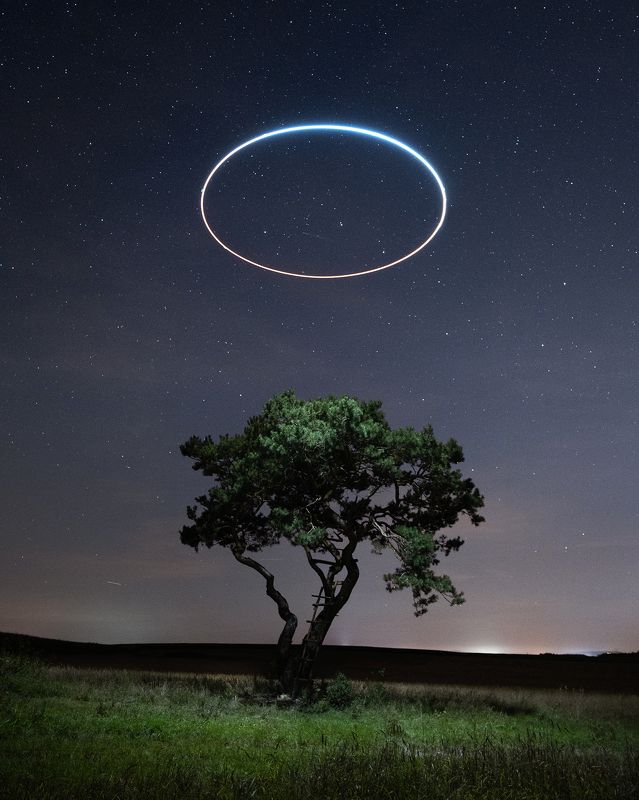 Poland, field, tree, grass, light painting, drone, stars, circle,  Lights of the nightphoto preview