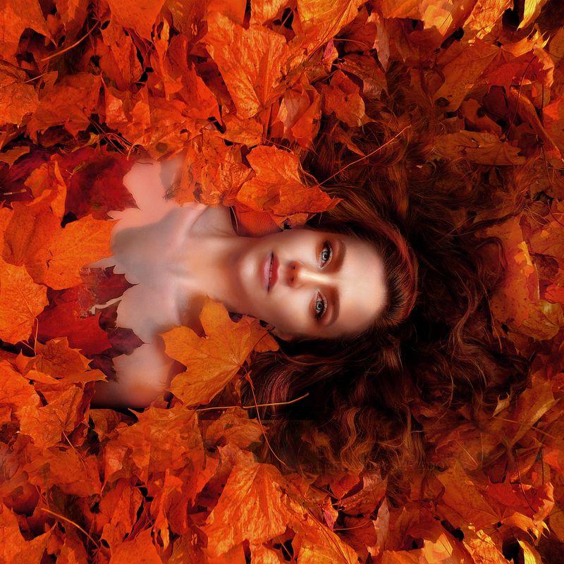 portrait,  autumn, female, portrait glamor, fashion, fineart, fineartphotography portrait in autumn leavesphoto preview