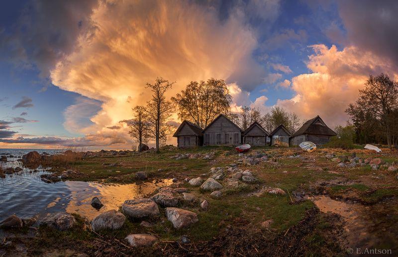пейзаж, море, эстония, природа Вечер в рыбацкой деревнеphoto preview