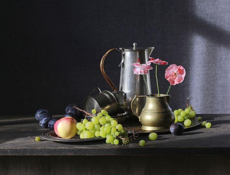 натюрморт, фотонатюрморт, осень, маки, цветы, виноград, наталья казанцева Последние макиphoto preview