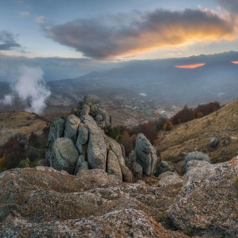 крым, димерджи, аленга, вечер, закат, осень Крым. Вечер на горе Аленга.photo preview