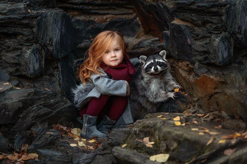детский, портрет, енот, фотосживотными Саша и Пончикphoto preview