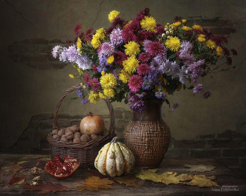 натюрморт, осень, цветы, хризантемы, букеты, орехи, гранат, осеннее настроение Осенний натюрмортphoto preview