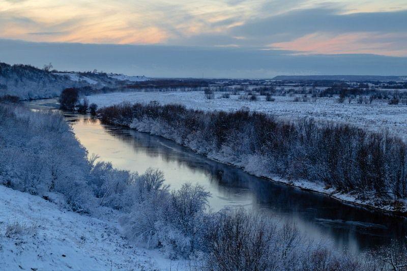 вечер, природа, закат, холм, река, мороз, снег, север, небо В ожидании зимы...photo preview