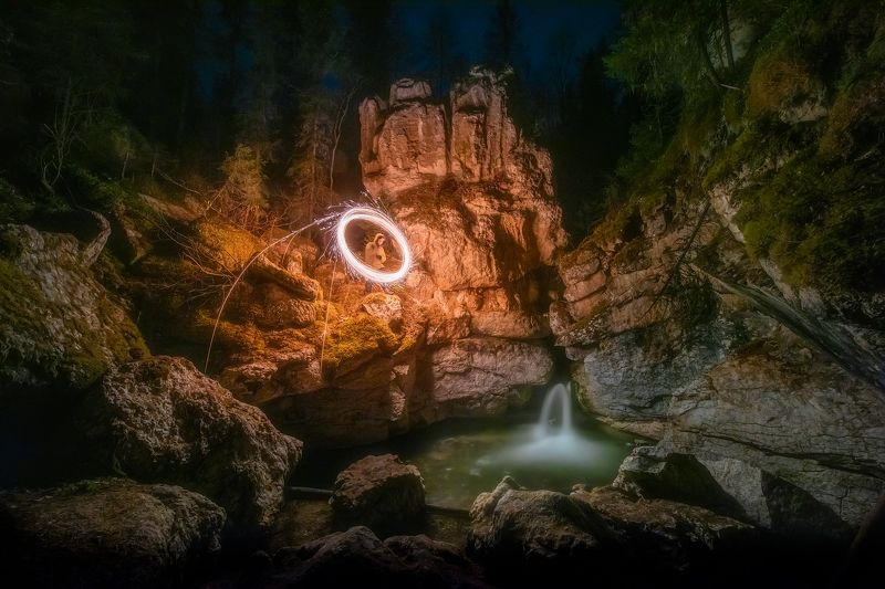карст, пинега, водопад, скалы, ночь, днинная экспозиция photo preview