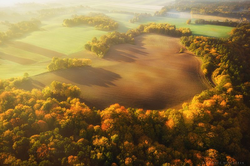 landscape, poland, light, autumn, awesome, amazing, sunrise, sunset, lovely, nature, travel, drone, trees, orange, shadows, dji, colors, fields, heart The Heartphoto preview